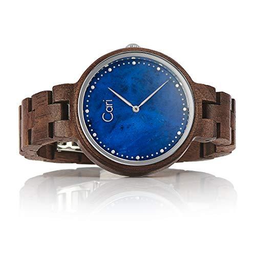 Cari Damen Uhr Schweizer Quarzwerk mit Walnuss Holz-Armband Holzuhr Kapstadt-101