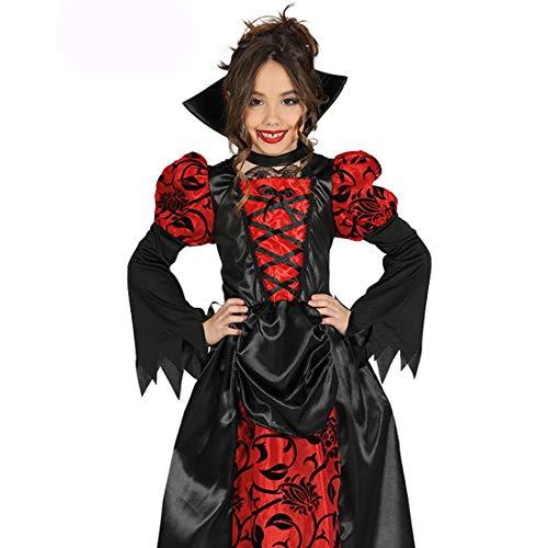 Amakando Hochwertiges Dracula-Kostüm für Mädchen / Rot-Schwarz 5 - 6 Jahre, 110 - 115 cm / Elegantes Gothic Outfit Vampirin / Passend gekleidet zu Kinder-Fasching & Halloween