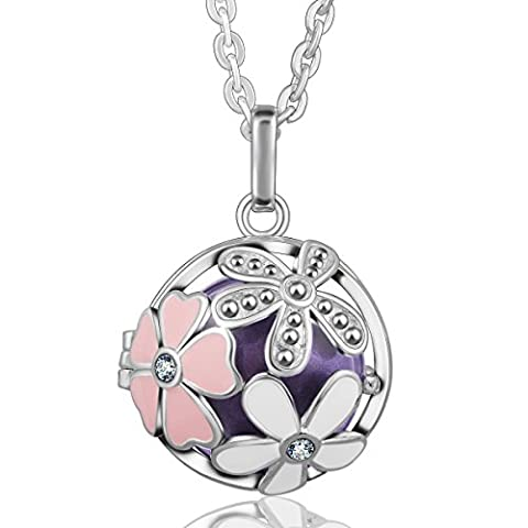 Eudora Harmony Ball Flower Pendant Crystal Women Necklace Lockets Sterling Silver Plated Bola Lavender