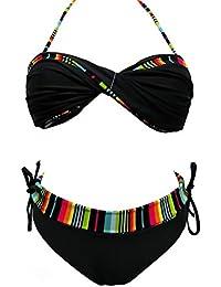 Maillot de bain femme 2 pièces bikini noir et multicolore