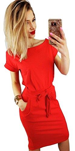 Longwu Vestido de Manga Corta Elegante de Las Mujeres para Trabajar el Vestido Ocasional del lápiz con la Correa Rojo-3XL