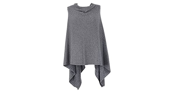Sugar Babe Ladies Lagenlook Quirky Plain Cowl Neck Lana Angora Wool Mix Draped Knitted Poncho Cape Top Womens One Size Plus UK 8-22 Black