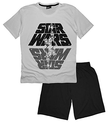 Disney Männer Star Wars Kurzes Pj's Pyjama Set Nachtwäsche (XL, Weiß) (Pj Kurze Set)