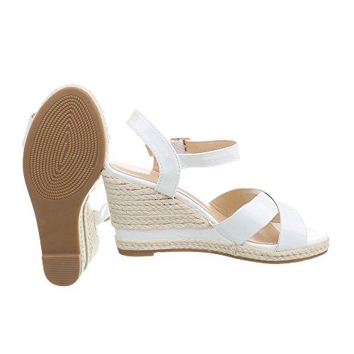 Ital-Design Keilsandaletten Damenschuhe Keilabsatz/Wedge Keilabsatz Schnalle Sandalen Sandaletten Weiß BL-17