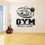 Gym Fitness Center Kunst Wandaufkleber Strongman Fitness Vinyl Aufkleber Abnehmbare Hantel Sport...