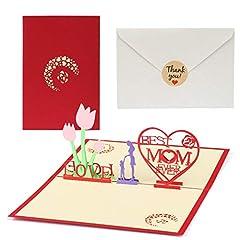 Idea Regalo - Kesote 3D Biglietto d'Auguri per Festa della Mamma Carta Creativa con Disegno di Fiori e Cuore Perfetto Regalo per Mamma, 1 Biglietto + 1 Busta