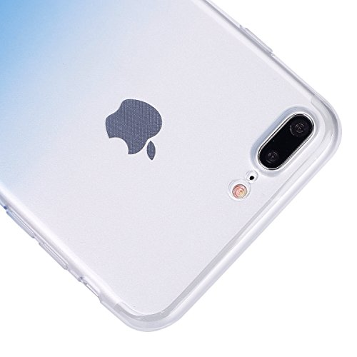 Hülle für iPhone 7 Plus, Case Cover für iPhone 7 Plus [Scratch-Resistant] , ISAKEN Ultra Slim Perfect Fit Malerei Muster TPU Silikon Clear Transparent Protective Rückseite Back Hülle Hüllen Beschützer Blau Transparent