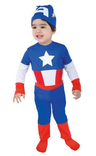 Marvel-C 641-001-Déguisement-Kostüm Super Héro Squad-Captain America Combinaison Chapeau-Sachet Häkel - 2/3 Ans