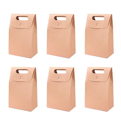 LIOOBO 20 stücke Tragbare papier geschenk taschen falten süßigkeiten behandeln aufbewahrungsbox cookies keks dessert container halter für zuhause shop (kraftpapier)