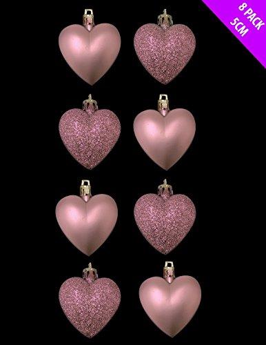 8 x 5cm colore rosa di bambino / blush pink glitter + matt cuore a forma di albero di natale bau ...