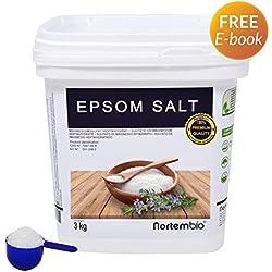 NortemBio Sel d'Epsom 3 Kg, Source concentrée de Magnésium, Sel 100% Naturel. Bain et Soins Personnels.