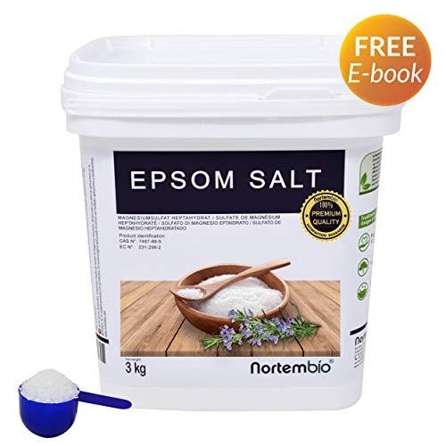 Nortembio Sale di Epsom 3 kg, Fonte Concentrata di Magnesio, Sale Naturale al 100%. Bagno e Cura Personale.