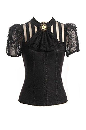 Steampunk Retro Punk Brokat Gothic Emo Damen Bekleidung Shirts Tops - Schwarz - XX-Large (Plus Size Großhandel Kleider)