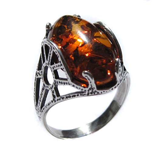 Noda Ring Sterling-Silber 925 Bernstein (Sterling 925 Silber Bernstein Ring)