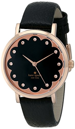 Kate Spade Women's 34mm Black Calfskin Band Gold Tone Steel Case Quartz Analog Watch 1YRU0583