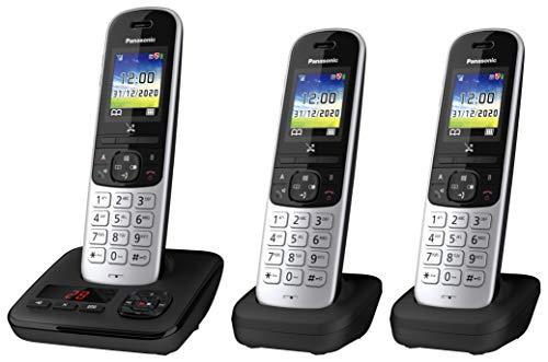 Panasonic Schnurlostelefon KX-TGH723GS mit Anrufbeantworter 2 zusätzlichen Mobilteilen, Babyphone und Kurzwahltasten