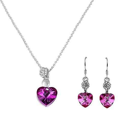 Rcool Women Girl Fashion Heart Crystal Rhinestone Silver Chain Pendant Necklace Choker Earring Jewelry Set (Hot Pink)