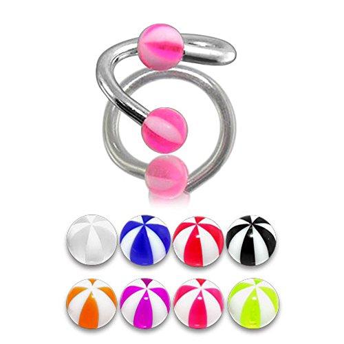 Bijou Piercing de corps Barbell Spirale Lot de 5 Pièces de couleurs assorties avec boule 3MM UV Pastèque en Acier chirurgical 316L