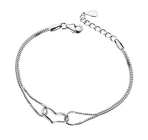 Hosaire 1x Elegant Armband Silber Frauen in Herzform Linien Fließende Mesh Armband Armband-Charme Frau Mädchen Ohrringe Armband Geschenk Schmuck