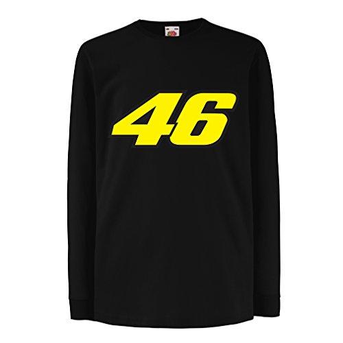N4445D Kinder-T-Shirt mit langen Ärmeln N46 (7-8 years Schwarz Mehrfarben)