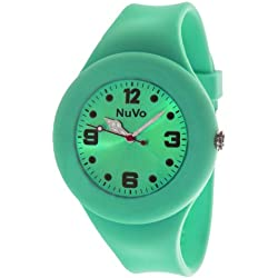 Nuvo - NU13H24 - Unisey Armbanduhr vom Armband abtrennbar - Grünes Zifferblatt - Grünes austauschbares Armband aus Silikon - Modisch - Elegant - Stylish