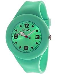 NuVo - NU13H24 - Montre Mixte détachable du bracelet  - Cadran Vert - Bracelet Silicone Vert changeable
