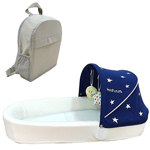 Baby Säugling Reisebett Bett Stubenwagen Matratze Komplett Nestchen Krippe Liegekissen Neugeborenes Tragbar (Blau)