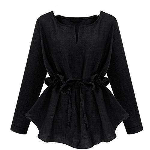 ZIYOU Frauen Plus Size Blusen Elegante, Damen Mode Langarm Falten Oberteile T-Shirts (EU-42 / CN-2XL,Schwarz)