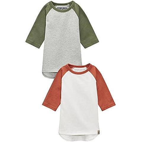 next Niños Infantes Camisetas Manga Raglán Marga Crudo Gris De Algodón Paquete De 2 (3 Meses-6