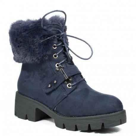 Ideal Shoes - Bottines montantes effet daim avec col fourré Madine Marine