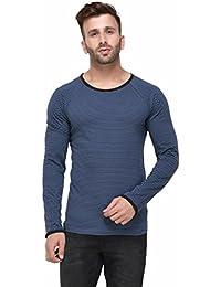 Rigo Blue And Black Striped Raglan Sleeve Full Sleeve Tshirt For Men
