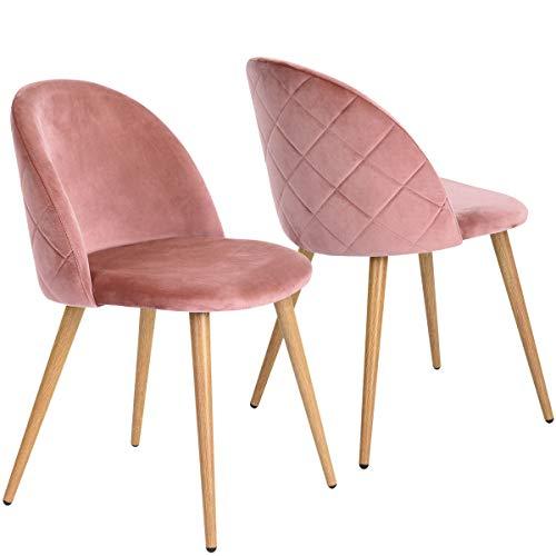 Lot de 2 Chaises Salle à Manger Coveas Confort Plus en Velours avec Jambes en Métal Style Bois - Rose
