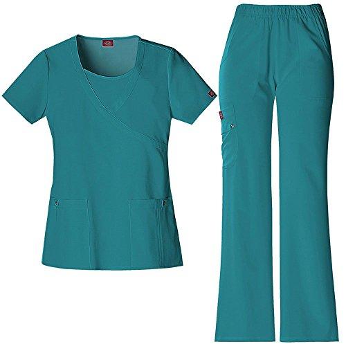 Xtreme Stretch Frauen Mock Wrap Scrub Top & elastische Taille Scrub Hose Set X-Large Teal - Dickies-elastische Taille Hose