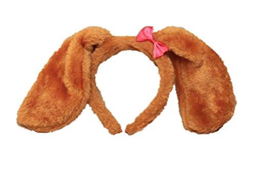 Floppy Kostüm Ohren - Haarreif für Hundeohren mit rosa Schleife