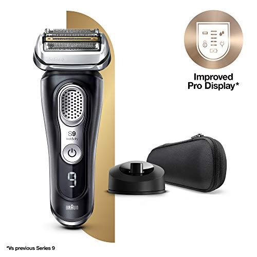 Braun Series 9 9340s Afeitadora Eléctrica Hombre de Última Generación, Afeitadora Barba con Base de Carga, Funda de Tela, Negro