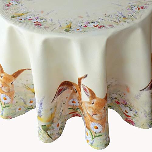 Kamaca Serie Hasen AUF DER BLUMENWIESE hochwertiges Druck-Motiv mit süssen Hasen Eyecatcher in Frühling Ostern (Tischdecke 150 cm rund)