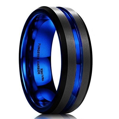 King Will Duo para hombre 7mm negro mate acabado anillo azul borde biselado de carburo de tungsteno boda banda
