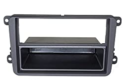 Audioproject A171 - Autoradio Radioblende Doppel DIN VW Golf 5 + 6 Touran Passat 3C Caddy EOS Skoda Octavia Einbau-Rahmen 2-DIN 1-Din mit Fach schwarz
