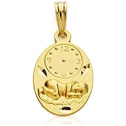Medalla Bebé/Niño Oro Amarillo 18 ktes Tamaño 12 x 18 mm Niño Pajas Maciza