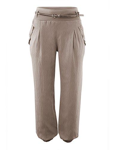Damen Haremshose Elegant Winter Pumphose Lange Leinen Hose mit Gürtel Aladin Pants,1 Hosen+1 Gürtel (S, khaki) (Khaki Leinen Hose)