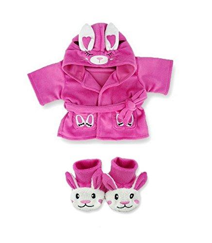 Aufbau Ihr Bears Kleiderschrank Teddybär, Kleidung passt Aufbau A Bear Bunny Bademantel und Hausschuhe Geschenk-Set Teddies (Candy)