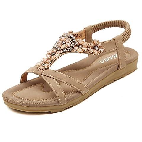 Zicac Damen Sandalen Freizeit Blumen-Stil Sandalen Sommer Schuhe (Asien 39 - EU 38, Aprikose)