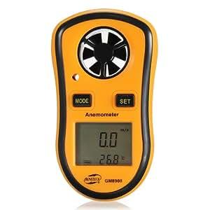 Mini Digital LCD Display Wind Speed Gauge Meter Anemometer + Thermometer NTC C/F (orange)