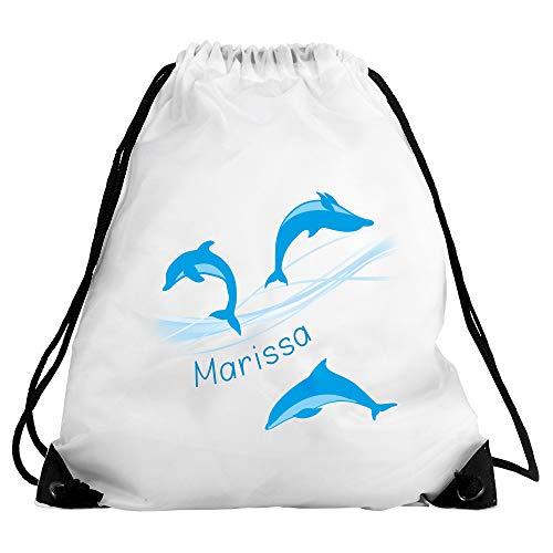 Eurofoto Turnbeutel mit Namen Marissa und Delfin-Motiv für Mädchen | Sport-Beutel für Kinder | Gymbag
