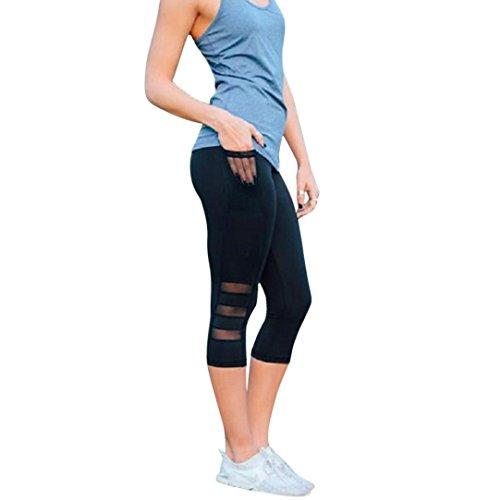 Leggings Damen, ABsoar Damen Skinny 3/4 Leggings Patchwork Mesh Yoga Leggings Fitness Sport Capri Sporthosen (S, Schwarz)