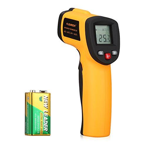 Floureon Laser Infrarot Thermometer IR Pyrometer berührungslos Temperaturmessgerät Temperaturmesser, -50 bis +550°C mit LCD Beleuchtung ±1.5°C Genauigkeit