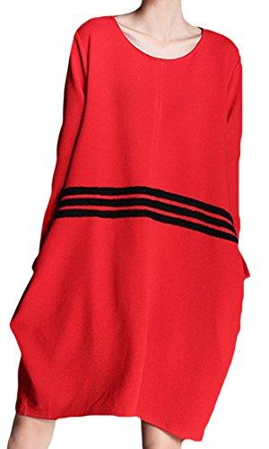 erdbeerloft - Damen Lässiges Oversized Kleid mit Streifendetails, S-L, Viele Farben Rot