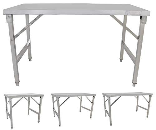 Beeketal Edelstahl Küchen Arbeitstische klappbar mit 100-170 kg Tragkraft und justierbaren Stellfüßen