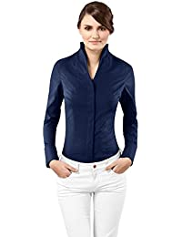 VB Chemisier Femme Modern Fit Taille Normale Col Calice Uni Manches Longues Infroissable