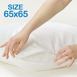 bid buy direct 100 coton 65 x 65 taies d 39 oreiller avec fermeture clair r sistant aux. Black Bedroom Furniture Sets. Home Design Ideas